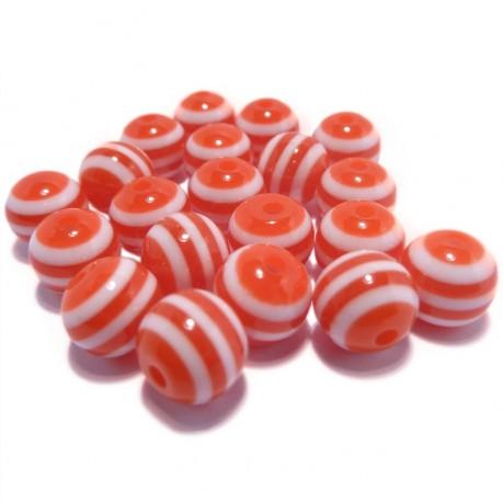20ks Plastová kulička červeno-bílá