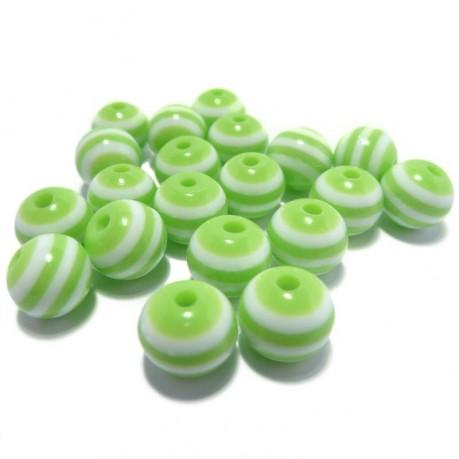 20ks Plastová kulička zeleno-bílá
