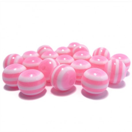 20ks Plastová kulička růžovo-bílá