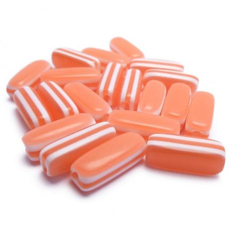 20ks - Oválné plastové korálky pruhované červené 13x5x5mm