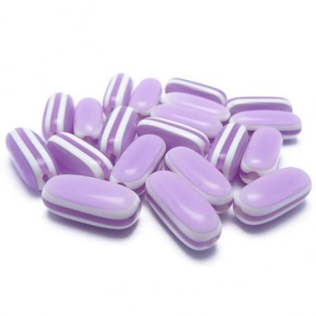 20ks Oválné plastové korálky pruhované fialové 13x5x5mm