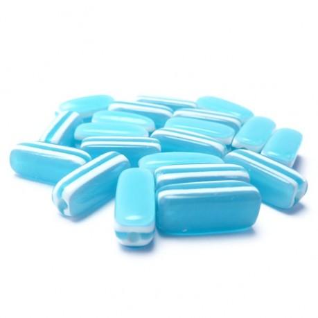 20ks - Oválné plastové korálky pruhované modré 13x5x5mm