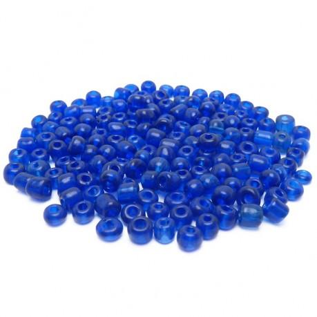 10g Skleněné korálky 4mm - rokajl tmavě modré