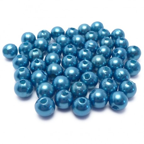 50ks Plastové perle 6mm modré