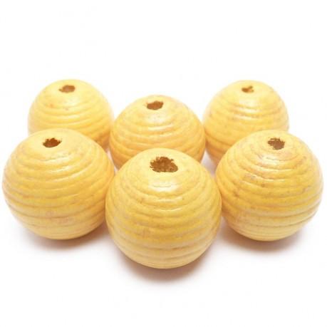 6ks Dřevěné korálky kulaté 20mm žluté