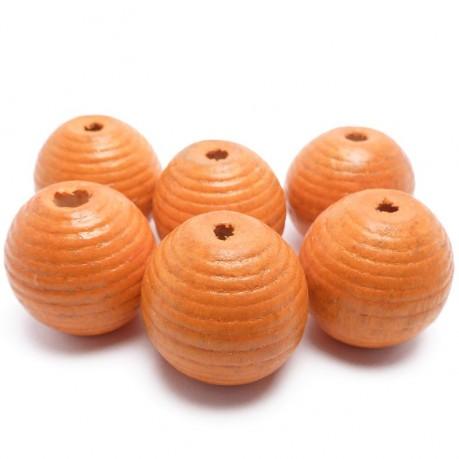 6ks Dřevěné korálky kulaté 20mm oranžové