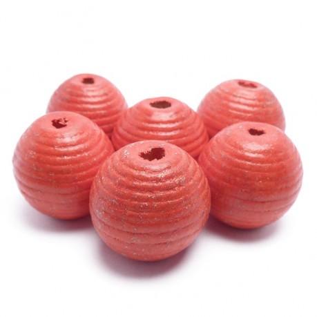 6ks Dřevěné korálky kulaté 20mm červené