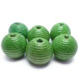 6ks Dřevěné korálky kulaté 20mm zelené