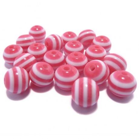 20ks Plastová kulička tmavě růžovo-bílá