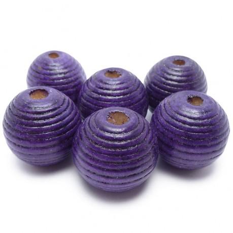 6ks Dřevěné korálky kulaté 20mm fialové