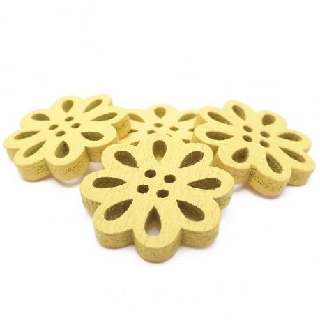 4ks Dřevěné kytičky 19x3mm žluté