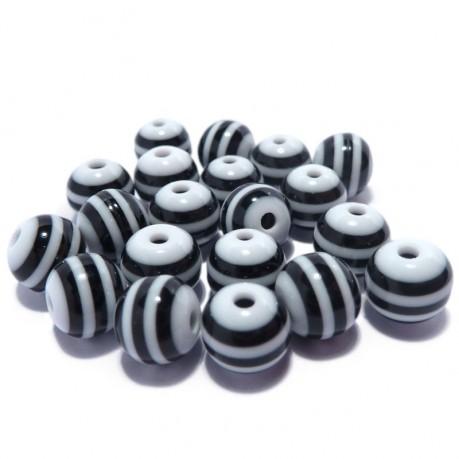 20ks Plastová kulička černo-bílá