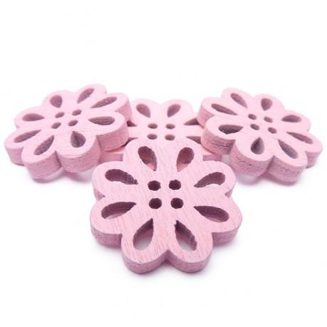 4ks Dřevěné kytičky 19x3mm růžové