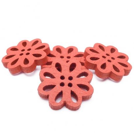 4ks Dřevěné kytičky 19x3mm červené