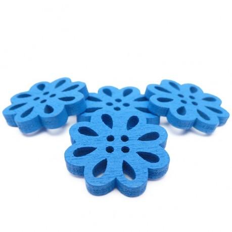 4ks Dřevěné kytičky 19x3mm modré