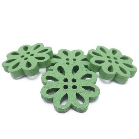 4ks Dřevěné kytičky 19x3mm zelené