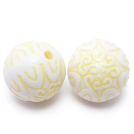 2ks Plastové korálky 20mm koule žlutá
