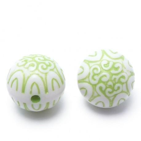 2ks Plastové korálky 20mm koule zelená