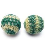 2ks Ručně háčkované korálky 21mm zeleno žluté