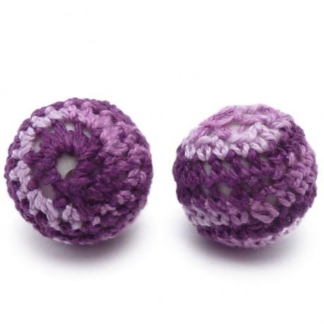 2ks Ručně háčkované korálky 21mm fialové