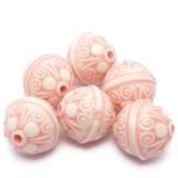 6ks Plastové korálky antický vzor  růžové