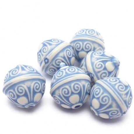 6ks Plastové korálky antický vzor  modré