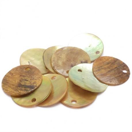 10ks Perleťové placky – penízky 15mm žluté
