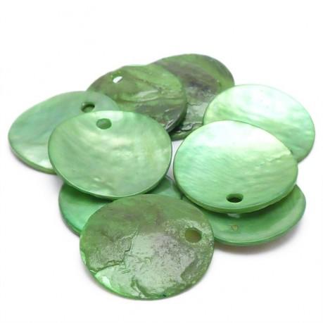 10ks Perleťové placky – penízky 15mm zelené