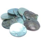 10ks Perleťové placky – penízky 15mm světle modré