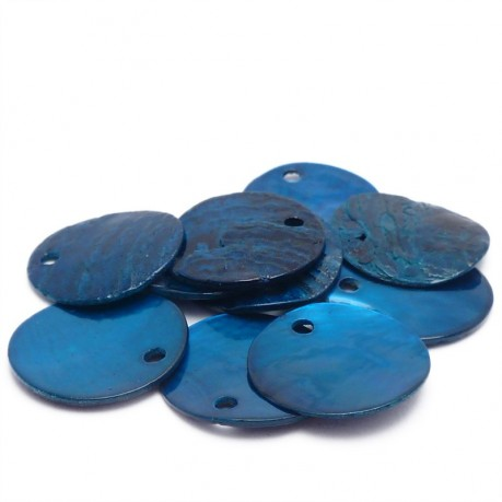 10ks Perleťové placky – penízky 15mm tmavě modré