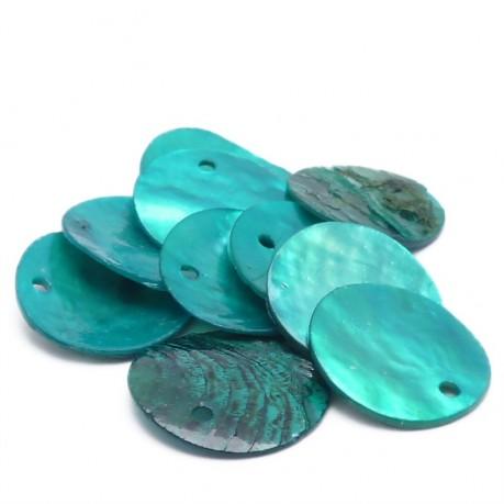 10ks Perleťové placky – penízky 15mm tyrkysové