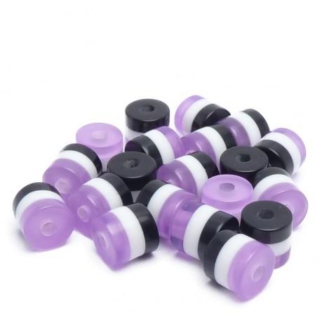 20ks Pruhované mini válečky 5x6mm fialové