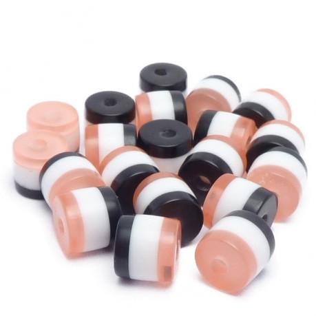 20ks Pruhované mini válečky 5x6mm světle růžové