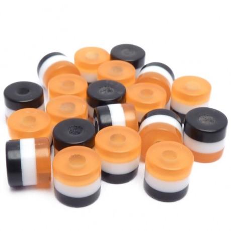 20ks Pruhované mini válečky 5x6mm oranžové