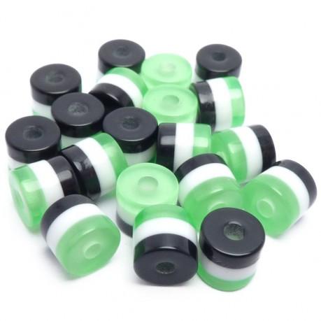 20ks Pruhované mini válečky 5x6mm zelené