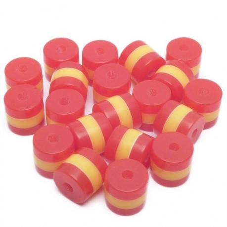 20ks Pruhované mini válečky 5x6mm červené, žluté