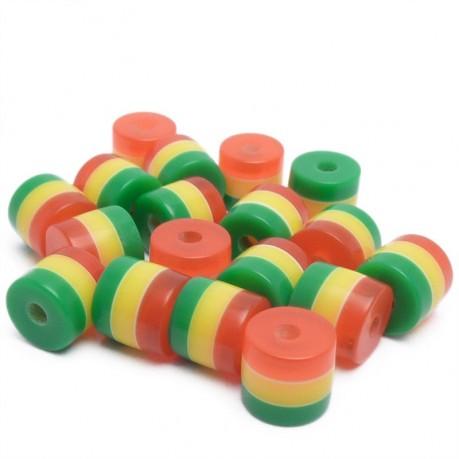 20ks Pruhované mini válečky 5x6mm červené, žluté, zelené