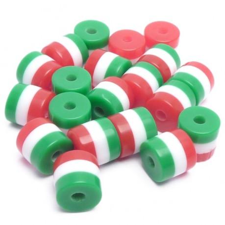 20ks Pruhované mini válečky 5x6mm červené, bílé, zelené