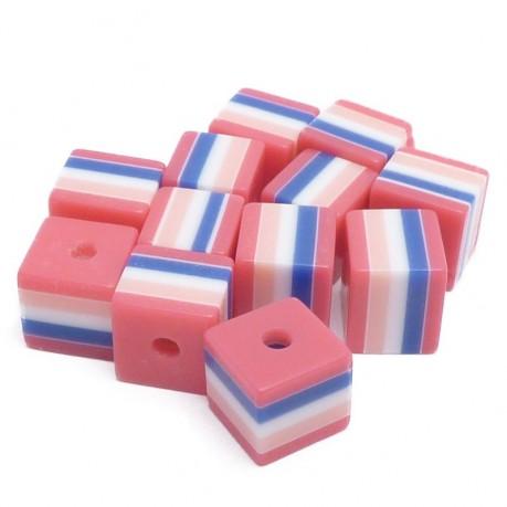12ks Kostka proužkovaná plastová 8x8mm růžová
