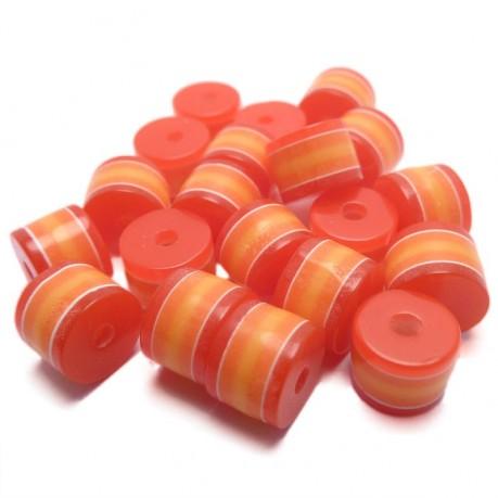 20ks Plastový váleček červeno-oranžový
