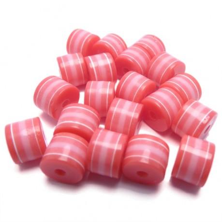 20ks Plastový váleček tmavo růžový-růžový