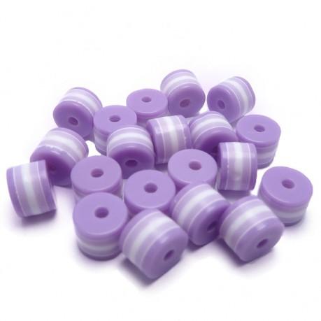 20ks Plastový váleček fialovo-bílý