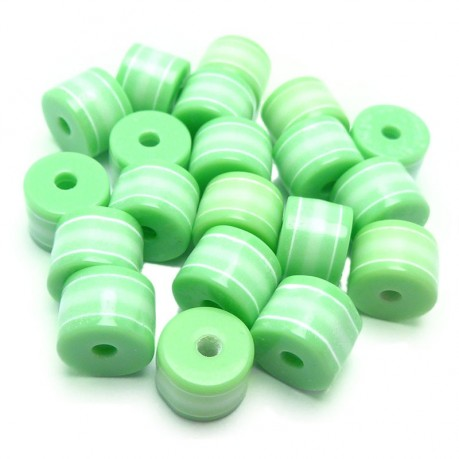 20ks Plastový váleček zeleno-bílý