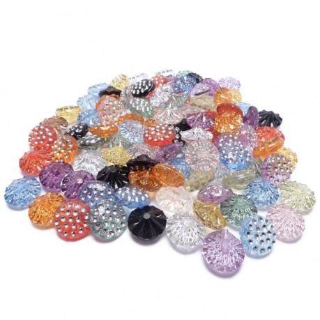 100ks Ozdobné knoflíky plastové 13x6.5mm barevný mix