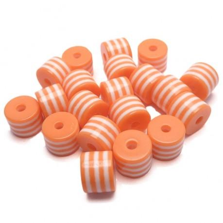 20ks Plastový váleček oranžovo-bílý
