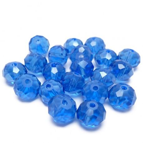 20ks Skleněné korálky broušené ~ 8x6mm tmavě modré