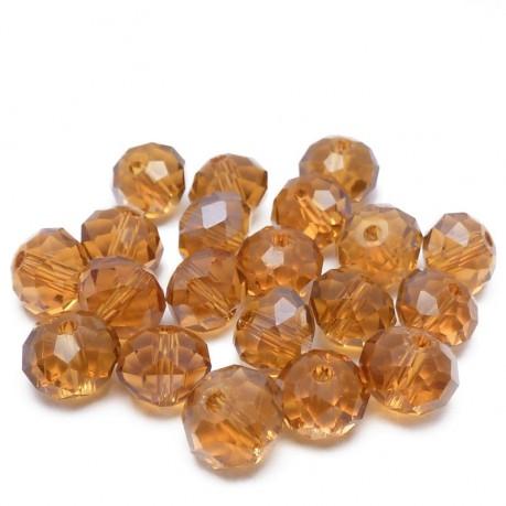 20ks Skleněné korálky broušené ~ 8x6mm tmavě oranžové